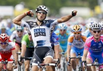 Juan Jose Haedo of Argentina wins the sprint in the second stage of the Dauphine cycling race between Annonay and Bourg-Saint-Andeol